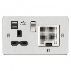 Knightsbridge Flat Plate Brushed Chrome 13A Switched Socket with Dual USB Charger and Bluetooth Speaker - Black Insert