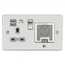 Knightsbridge Flat Plate Brushed Chrome 13A Switched Socket with Dual USB Charger and Bluetooth Speaker - Grey Insert