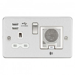 Knightsbridge Flat Plate Brushed Chrome 13A Switched Socket with Dual USB Charger and Bluetooth Speaker - White Insert