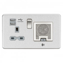Knightsbridge Screwless Brushed Chrome 13A Switched Socket with Dual USB Charger and Bluetooth Speaker - Grey Insert