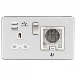 Knightsbridge Screwless Brushed Chrome 13A Switched Socket with Dual USB Charger and Bluetooth Speaker - White Insert