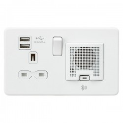 Knightsbridge Screwless Matt White 13A Switched Socket with Dual USB Charger and Bluetooth Speaker - Whit...