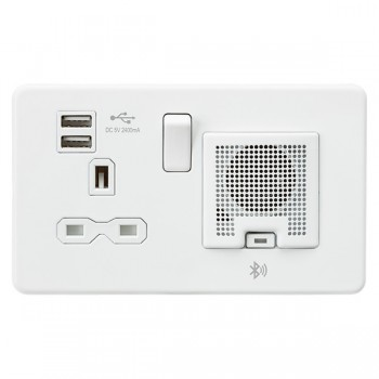 Knightsbridge Screwless Matt White 13A Switched Socket with Dual USB Charger and Bluetooth Speaker - White Insert