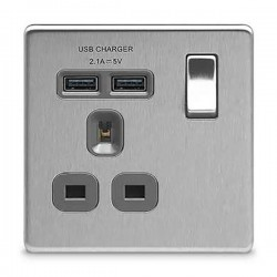 BG Nexus Flatplate Screwless Brushed Steel 1 Gang 13A Switched Socket with Dual USB Outlet and Grey Insert
