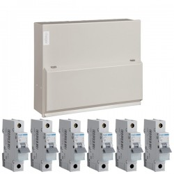 Hager 6 Way Split Load (3+3) Consumer Unit - 100A Main Switch + 2x63A 30mA RCD Kit with 16A, 2x6A, and 3x32A MCBs