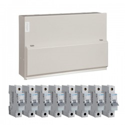 Hager 10 Way Split Load (5+5) Consumer Unit - 100A Main Switch + 2x63A 30mA RCD Kit with 16A, 40A, 3x32A, and 3x6A MCBs
