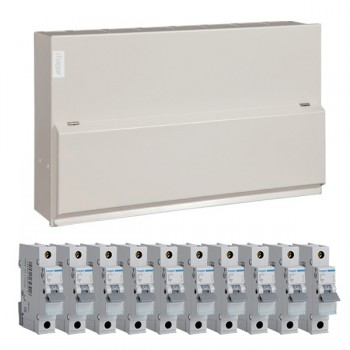 Hager 12 Way Split Load (6+6) Consumer Unit - 100A Main Switch + 2x63A 30mA RCD Kit with 16A, 40A, 4x32A, and 4x6A MCBs