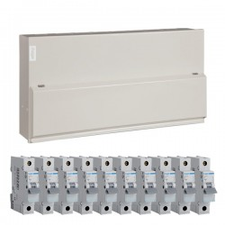 Hager 16 Way Split Load Configurable Consumer Unit - 100A Main Switch + 2x63A 30mA RCD Kit with 16A, 40A, 4x32A, and 4x6A MCBs