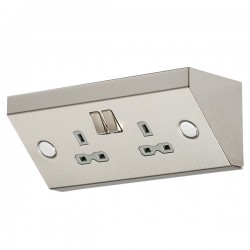 Knightsbridge Stainless Steel 13A 2 Gang Under Cabinet DP Switched Socket - Grey Insert