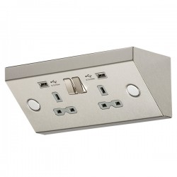 Knightsbridge Stainless Steel 13A 2 Gang Under Cabinet Socket with Dual USB Charger - Grey Insert