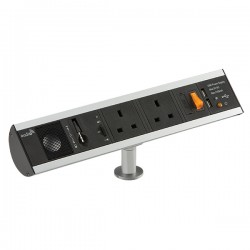 Knightsbridge 13A 2 Gang Desktop Socket with Dual USB Charger, Speaker, and Audio In Port