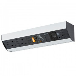 Knightsbridge 13A 2 Gang Under Cabinet Socket with Bluetooth Speaker and Dual USB Charger