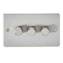 Knightsbridge Flat Plate Brushed Chrome 3 Gang 2 Way 10-200W Dimmer