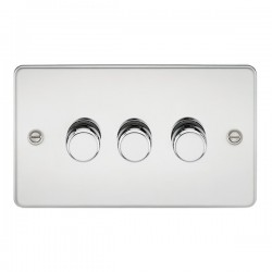 Knightsbridge Flat Plate Polished Chrome 3 Gang 2 Way 10-200W Dimmer