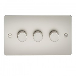 Knightsbridge Flat Plate Pearl 3 Gang 2 Way 10-200W Dimmer