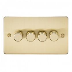 Knightsbridge Flat Plate Brushed Brass 4 Gang 2 Way 10-200W Dimmer