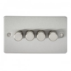 Knightsbridge Flat Plate Brushed Chrome 4 Gang 2 Way 10-200W Dimmer