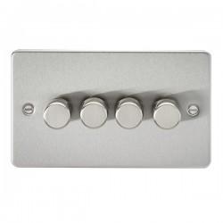 Knightsbridge Flat Plate Brushed Chrome 4 Gang 2 Way 10-200W Dimmer