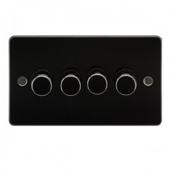 Knightsbridge Flat Plate Gunmetal 4 Gang 2 Way 10-200W Dimmer