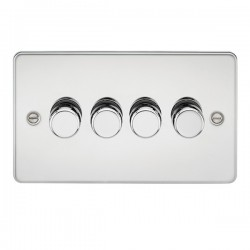 Knightsbridge Flat Plate Polished Chrome 4 Gang 2 Way 10-200W Dimmer