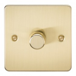 Knightsbridge Flat Plate Brushed Brass 1 Gang 2 Way 10-200W Dimmer