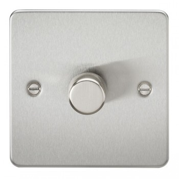 Knightsbridge Flat Plate Brushed Chrome 1 Gang 2 Way 10-200W Dimmer