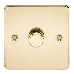 Knightsbridge Flat Plate Polished Brass 1 Gang 2 Way 10-200W Dimmer
