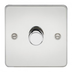 Knightsbridge Flat Plate Polished Chrome 1 Gang 2 Way 10-200W Dimmer