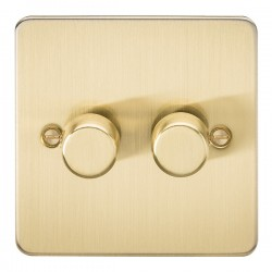 Knightsbridge Flat Plate Brushed Brass 2 Gang 2 Way 10-200W Dimmer
