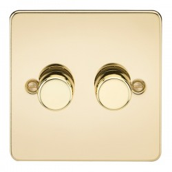 Knightsbridge Flat Plate Polished Brass 2 Gang 2 Way 10-200W Dimmer