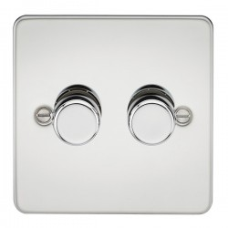 Knightsbridge Flat Plate Polished Chrome 2 Gang 2 Way 10-200W Dimmer