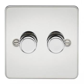 Knightsbridge Flat Plate Polished Chrome 2 Gang 2 Way 10-200W Dimmer