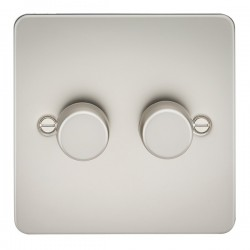 Knightsbridge Flat Plate Pearl 2 Gang 2 Way 10-200W Dimmer