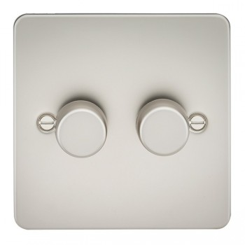 Knightsbridge Flat Plate Pearl 2 Gang 2 Way 10-200W Dimmer