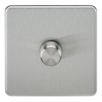 Knightsbridge Screwless Brushed Chrome 1 Gang 2 Way 10-200W Dimmer