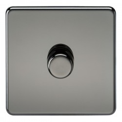 Knightsbridge Screwless Black Nickel 1 Gang 2 Way 10-200W Dimmer