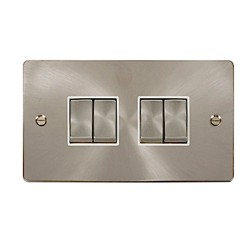 Click Define Brushed Steel Flat Plate Quad Light Switch with White Insert