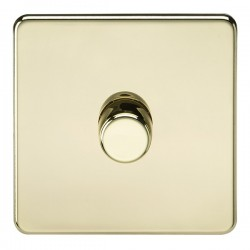 Knightsbridge Screwless Polished Brass 1 Gang 2 Way 10-200W Dimmer