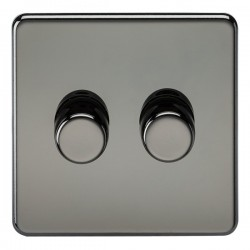 Knightsbridge Screwless Black Nickel 2 Gang 2 Way 10-200W Dimmer
