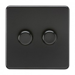 Knightsbridge Screwless Matt Black 2 Gang 2 Way 10-200W Dimmer