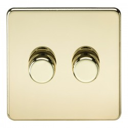 Knightsbridge Screwless Polished Brass 2 Gang 2 Way 10-200W Dimmer