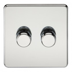 Knightsbridge Screwless Polished Chrome 2 Gang 2 Way 10-200W Dimmer