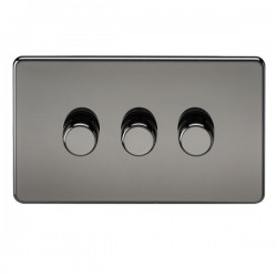 Knightsbridge Screwless Black Nickel 3 Gang 2 Way 10-200W Dimmer