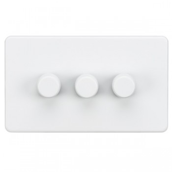 Knightsbridge Screwless Matt White 3 Gang 2 Way 10-200W Dimmer