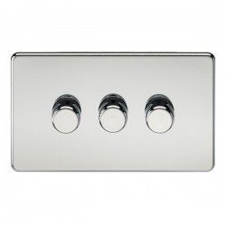 Knightsbridge Screwless Polished Chrome 3 Gang 2 Way 10-200W Dimmer