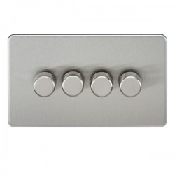 Knightsbridge Screwless Brushed Chrome 4 Gang 2 Way 10-200W Dimmer