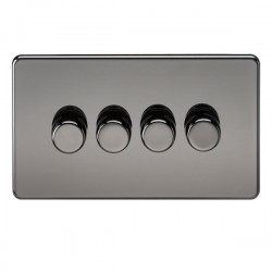 Knightsbridge Screwless Black Nickel 4 Gang 2 Way 10-200W Dimmer