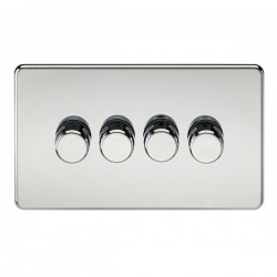 Knightsbridge Screwless Polished Chrome 4 Gang 2 Way 10-200W Dimmer