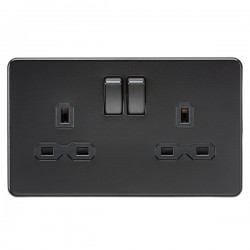Knightsbridge Screwless Matt Black 13A 2 Gang DP Switched Socket - Black Insert