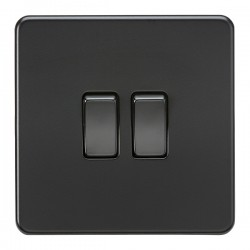 Knightsbridge Screwless Matt Black 10A 2 Gang 2 Way Switch